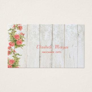 Cartão De Visitas Flores chiques do vintage, laço, textura de