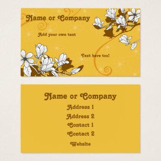 Cartão De Visitas Flores da magnólia no âmbar brilhante