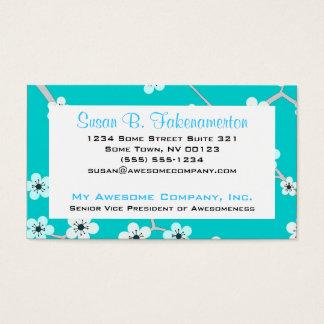 Cartão De Visitas Flores de cerejeira bonito - azul de turquesa