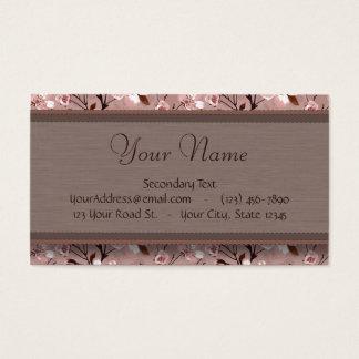 Cartão De Visitas Flores de cerejeira com monograma do laço