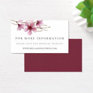 Cartão De Visitas Flores de cerejeira que Wedding o Web site