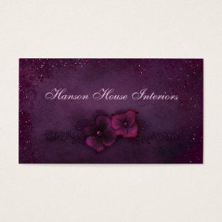 Cartão De Visitas Flores magentas da faísca do vintage da beringela