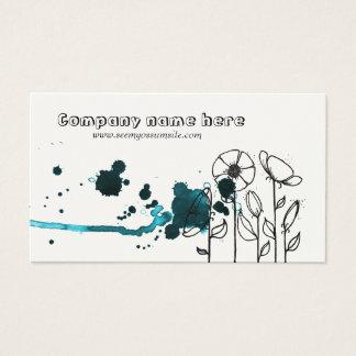 Cartão De Visitas Flores manchadas, azuis