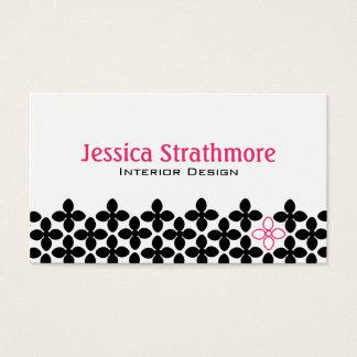 Cartão De Visitas Flores pretas e cor-de-rosa bonito