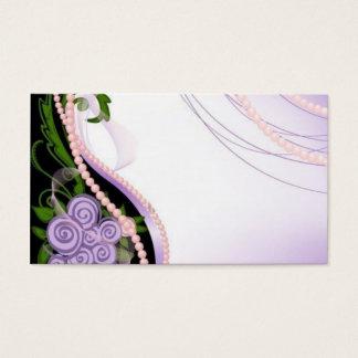 Cartão De Visitas Flores roxas e cor-de-rosa da miçanga