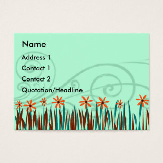Cartão De Visitas Flores selvagens alaranjadas com grama azul