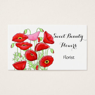 Cartão De Visitas Florista cor-de-rosa vermelho do costume da arte