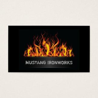 Cartão De Visitas Fogo alaranjado das chamas do fundo preto