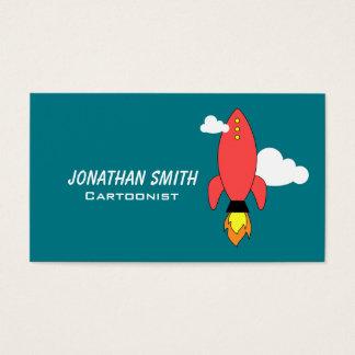 Cartão De Visitas Foguete vermelho dos desenhos animados