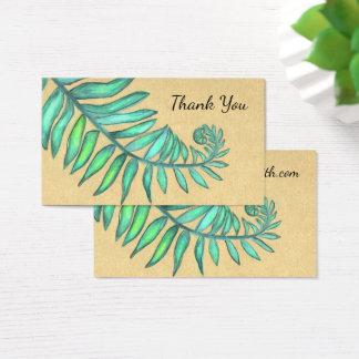 Cartão De Visitas Folha botânica do bege da palma de samambaias da