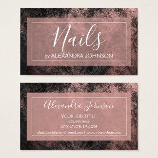 Cartão De Visitas Folha de ouro cor-de-rosa e unhas modernas pretas