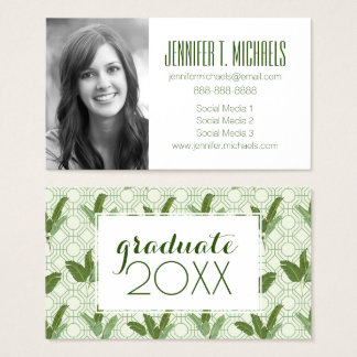 Cartão De Visitas Folhas & abacaxis tropicais da graduação   da foto
