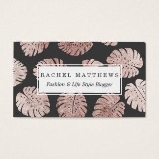 Cartão De Visitas Folhas cor-de-rosa elegantes chiques da planta do