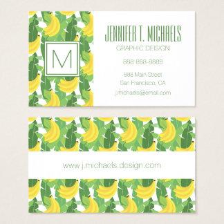 Cartão De Visitas Folhas da banana e monograma do teste padrão   da
