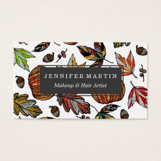 Cartão De Visitas Folhas de outono abóbora da queda e ilustração das