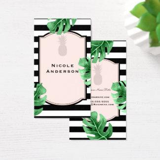Cartão De Visitas Folhas tropicais & listrado moderno elegante do