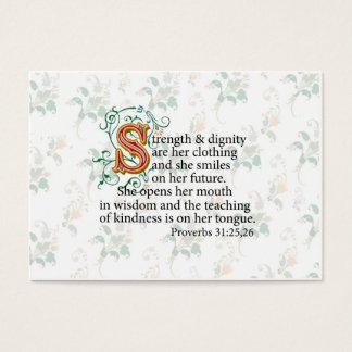 Cartão De Visitas Força e dignidade e coragem