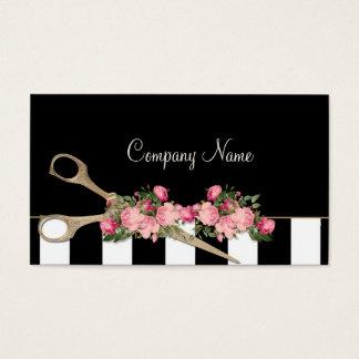 Cartão De Visitas Forma das listras dos rosas do estúdio do cabelo