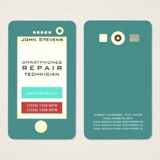 Cartão De Visitas Forma engraçada do olhar do falso do telemóvel