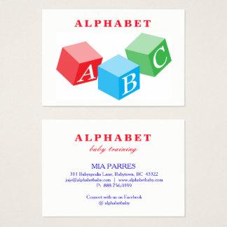 Cartão De Visitas Formação das letras de bloco de ABC do bebê do