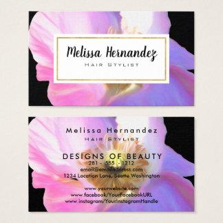 Cartão De Visitas Foto cor-de-rosa floral profissional da papoila na