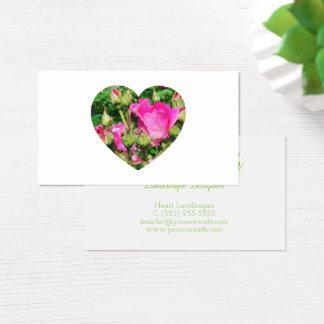 Cartão De Visitas Foto da forma do coração das flores do rosa do