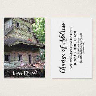 """Cartão De Visitas Foto do Birdhouse velho enorme """"nós movemos"""" o"""