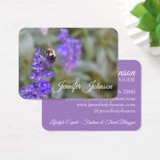 Cartão De Visitas Foto roxa do zangão da abelha da natureza do