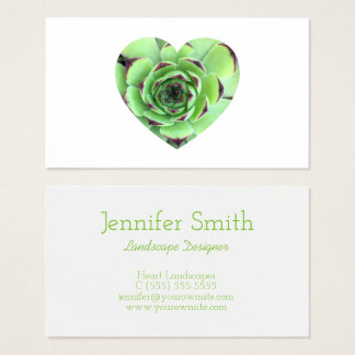Cartão De Visitas Foto verde da forma do coração do Succulent
