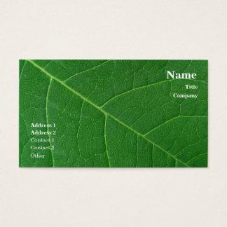 Cartão De Visitas Foto verde do Fim-acima da folha simples