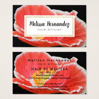 Cartão De Visitas Foto vermelha floral profissional da papoila