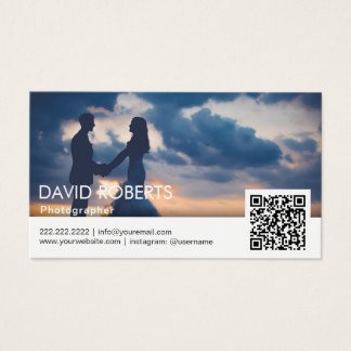 Cartão De Visitas Fotógrafo moderno do código da fotografia QR