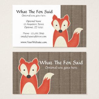 Cartão De Visitas Fox vermelho no boutique dos miúdos rústicos da