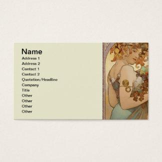 Cartão De Visitas Fruta bonita da mulher de Nouveau Mucha da arte