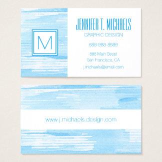 Cartão De Visitas Fundo azul abstrato da aguarela, textura