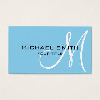 Cartão De Visitas Fundo da cor dos azuis bebés do monograma