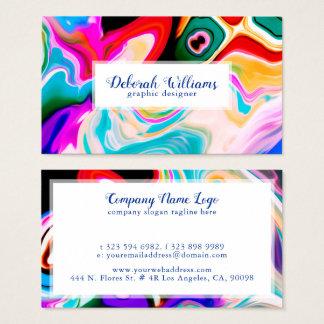 Cartão De Visitas Fundo de mármore fluido colorido