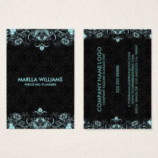 Cartão De Visitas Fundo preto dos redemoinhos florais azuis Pastel