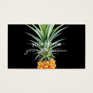 Cartão De Visitas fundo preto minimalista elegante do abacaxi |