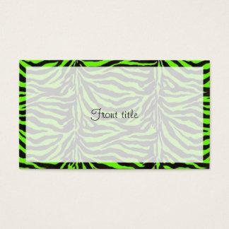 Cartão De Visitas Fundo verde de néon da textura da pele da zebra