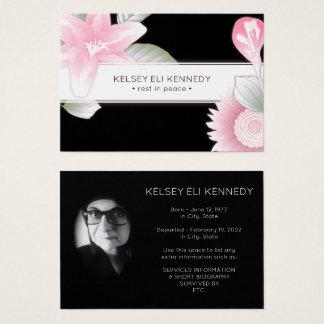 Cartão De Visitas funeral elegante floral do vintage