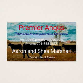 Cartão De Visitas Gado personalizado de Angus do vintage