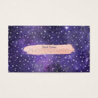 Cartão De Visitas Galáxia e estrelas roxas com Brushstroke