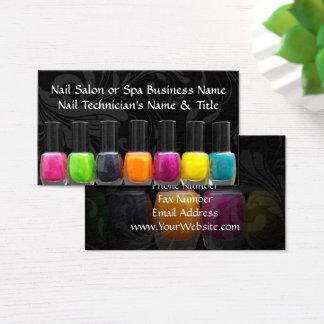 Cartão De Visitas Garrafas coloridas do verniz para as unhas, salão