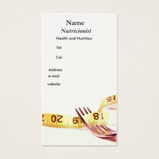 Cartão De Visitas Gatfo e fita Nutricionista