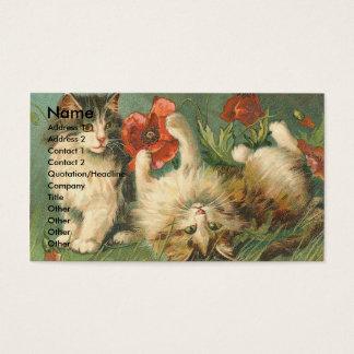 Cartão De Visitas Gatinhos e papoilas do vintage