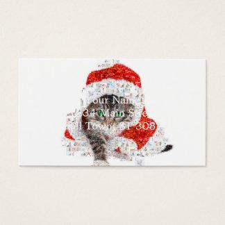 Cartão De Visitas gato de Papai Noel - colagem do gato - gatinho -