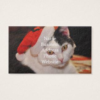 Cartão De Visitas Gato de Papai Noel - Feliz Natal - gato do animal