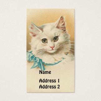 Cartão De Visitas Gato do branco do vintage