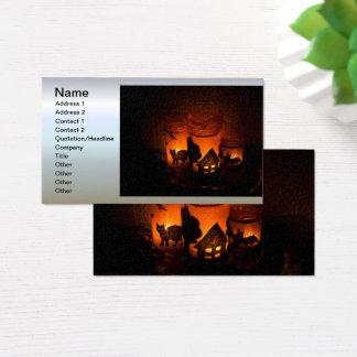 Cartão De Visitas Gato preto do Dia das Bruxas com luminares e